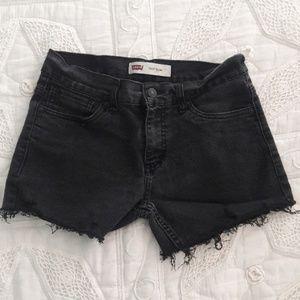 Levis 511 black denim cut off shorts